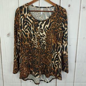 LulaRoe Leopard Long Sleeves Top Sz Medium
